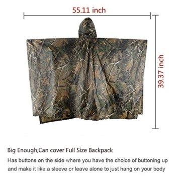 Aodoor Regenjacken Regenponcho wasserdicht regenmantel für die Jagd Camping, Freizeit Regenmantel, Baumblatt Camouflage Rain Poncho -