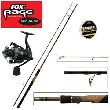 Fox Rage Set - Fox Ultron 2 Spinnrute 2,40m 15-50g + Fox Warrior Rolle 2500 + 150m Fox Rage 0,14mm geflochtene Schnur gelb- Angelset zum Spinnfischen - Angelrute & Angelrolle zum Spinnangeln -