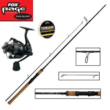 Fox Rage Set - Fox Warrior Spinnrute 2,10m 20-60g + Fox Warrior Rolle 2500 + 150m Fox Rage 0,14mm geflochtene Schnur gelb- Angelset zum Spinnfischen - Angelrute & Angelrolle zum Spinnangeln -