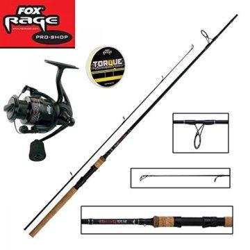 Fox Rage Set - Fox Warrior Spinnrute 2,40m 10-30g + Fox Warrior Rolle 2500 + 150m Fox Rage 0,10mm geflochtene Schnur gelb- Angelset zum Spinnfischen - Angelrute & Angelrolle zum Spinnangeln -