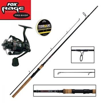 Fox Rage Set - Fox Warrior Spinnrute 2,40m 15-50g + Fox Warrior Rolle 2500 + 150m Fox Rage 0,12mm geflochtene Schnur gelb- Angelset zum Spinnfischen - Angelrute & Angelrolle zum Spinnangeln -