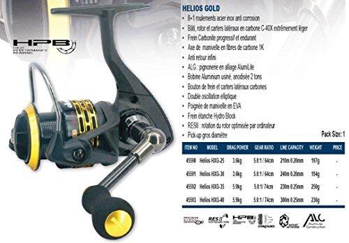 Okuma Helios Gold - HighEnd-Spinnrolle - Verschiedene Größen - Angelrolle mit Frontbremse fürs Raubfischangeln, HXG-25 -