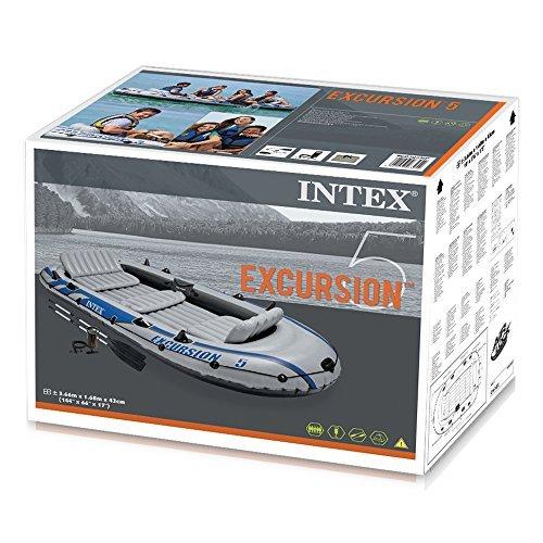 Intex Boot Excursion 5 Set, Grau, 366 x 168 x 43 cm / 4-teilig -