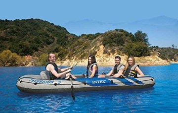 Intex Motorboot Schlauchboot mit Aussenbordmotor + Heckspiegel + Paddel, Pumpe set für 5 Personen Komplettset -