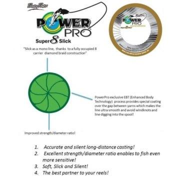 PowerPro Super 8 Slick 275m 0,28mm 20kg grün - geflochtene Angelschnur -